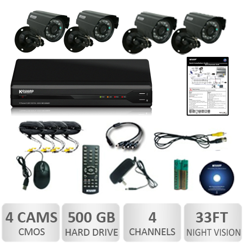 KGuard Home Security Kit with 4 CMOS Weatherproof Cameras and 4