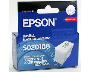 EPSON S020108 Black Ink Cartridge Stylus COLOR 800 / 850 / 1520