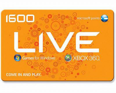 Microsoft X360 Live Points 1600 Points for downloadable content,