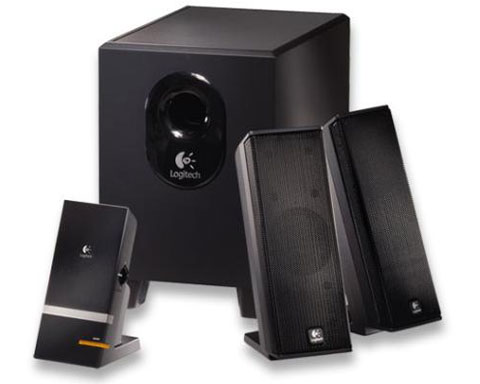 Logitech X-240 PC multimedia speaker sys with digital player doc