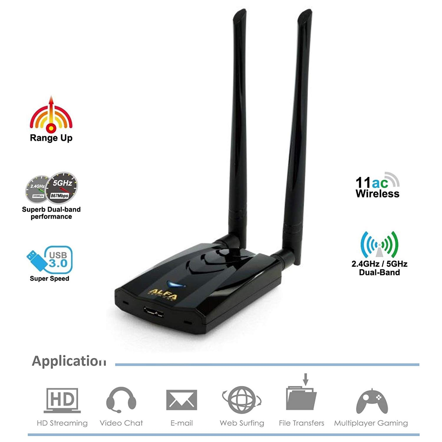 Alfa Long-Range Dual-Band AC1200 Wireless USB 3.0 Wi-Fi Adapter