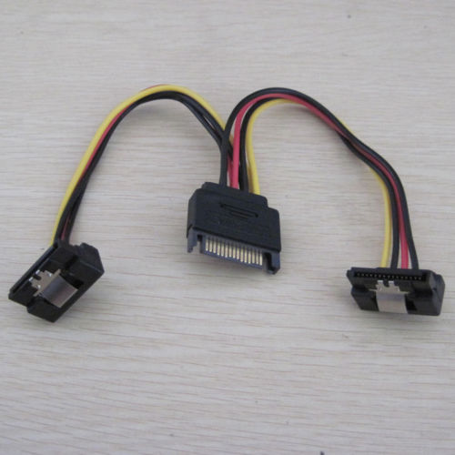 SATA Power Y Splitter Cable 1to2 90 degree right angle angled sa
